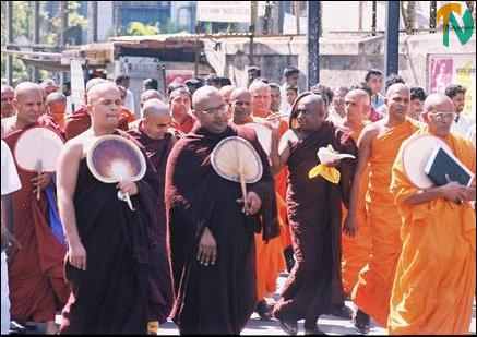 Buddhist monks march