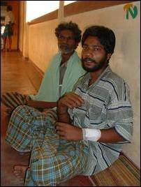 Fasting Indian fishermen hospitalised in Jaffna