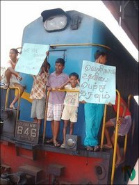 Railway employees families protest in Trinco.