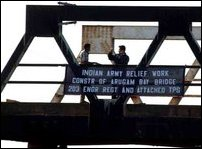 Indian Army repairing Arugambay bridge