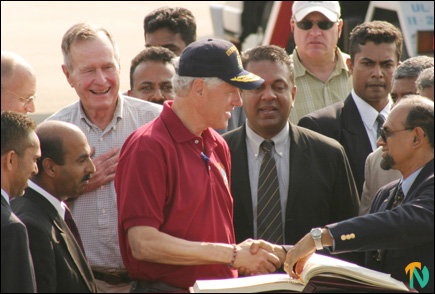 US former presidents arrive in Banadaranike International Airport