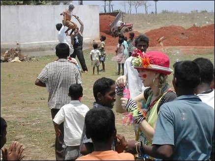 Clowns with the children in the Alas Garden welfare camp in Uppuveli in Trinco
