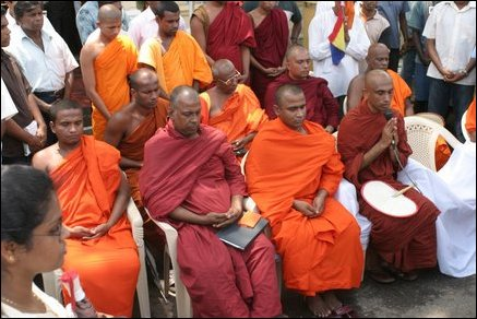 Monks protest in Colombo.
