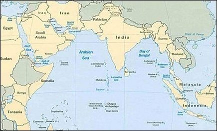 Map of Indian Ocean territories