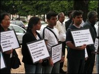 Tamil activists demonstrate in front of UNESCO Headquarters