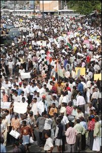 Demonstrators in front of Fort Railway Station