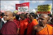 A section of Buddist monks participating in the JVP demonstration