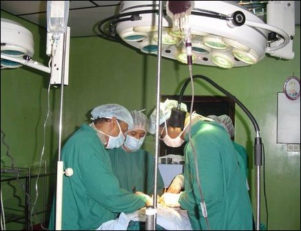 U.S Obstretrician Dr Samuel at the operating theater