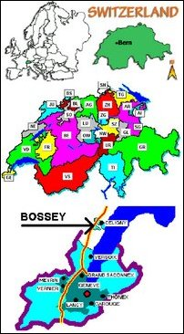 Switzerland, Celigny, Bossey map