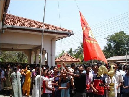 Batticaloa students hoist Tamileelam flag