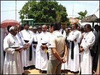 Religious heads of three faiths stage sit-in Kilinochchi.