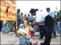 The remains of Sea Tigers laid to rest in Vanni.