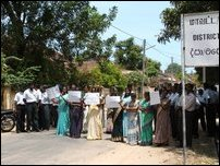 Jaffna court employees protest.