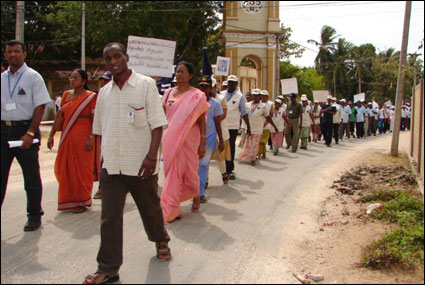 Wide spread protests in the Jaffna