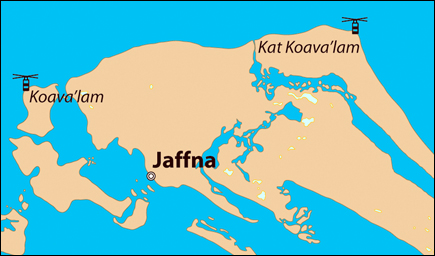 Location of Koava'lam and Kat Koava'lam in Jaffna