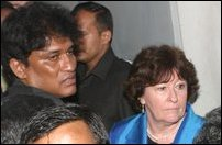 Louise Arbour, the visting UN High Commissioner for Human Rights, seen among the relatives and famil
