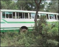The bus targeted by SLA DPU Claymore mine