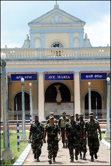 Armed soldiers at holy premises of Madhu