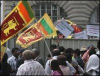 Protest in London against Rajapaksa