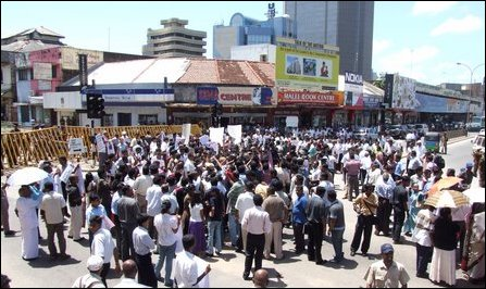 Media institutions hold protest demonstration