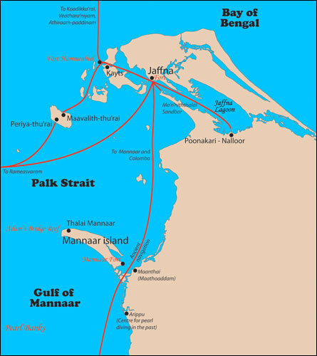 Jaffna City, the sea routes