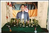 Rajihar with Table Tennis and Chess trophies