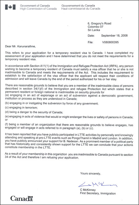Letter from Canadian Embassy to Vickramabahu