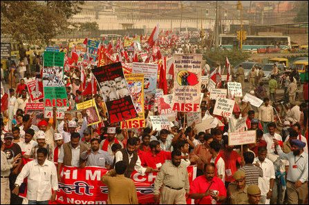 AISF protest in front of Indian parliament