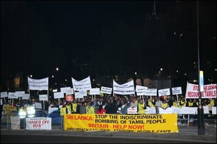British Tamils demonstrate at the Parliament Square