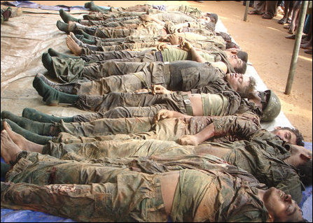 Female soldiers dead bodies