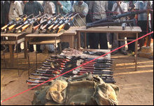 Tigers display arms seized in Mullaiththeevu