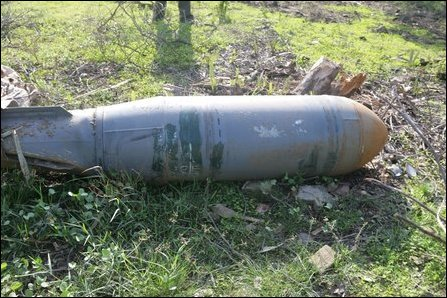 Unexploded, unopened cluster bomb container, photographed in Mullaiththeevu in Vanni