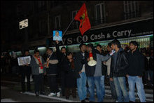 Human chain protest demonstration in Paris