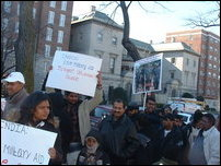 Demonstrators in front of Indian Embassy