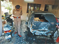 CPI leader's car set on fire