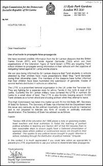 SL High Commission letter