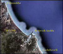 Location of Pulmoaddai, Thiriyaay, Pudavaik-kaddu and Kuchchave'li