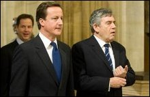 Nick Clegg, David Cameron and Gordon Brown le