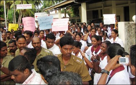 Protest by nurses in Jaffna