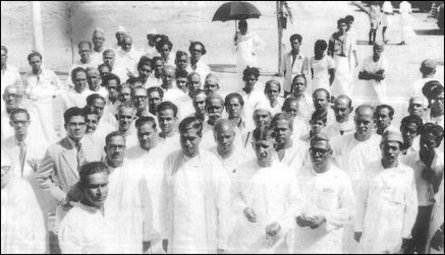 Federal Party leaders at the Trincomalee Convention, August 1956