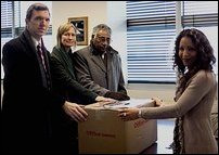 Amnesty Photo: (L-R) McDonald, Foster, and Dr Manoharan handing over petition to UN official