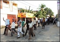 Sinhala goons staging protest against UN Panel report in Jaffna