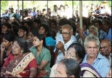 A section of the residents awaiting resettlement in their land occupied by SLA as High Security Zone