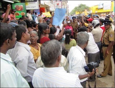 Missing persons' parents protest in Jaffna on HR Day 2011