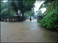 Roads affected by floods in Batticaloa