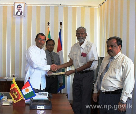 SL Governor Maj Gen (retd) Chandrasri issues appointment letter to Dr N Ethirveerasingam on 11 Janua