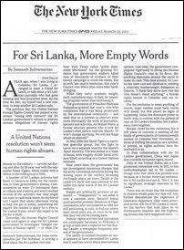 NYT: For Sri Lanka, more empty words