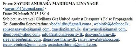The e-mail sent by SL military intelligence source to SL military psyops circles and to media source