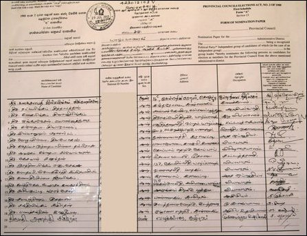 Candidates list of TNA in Jaffna district