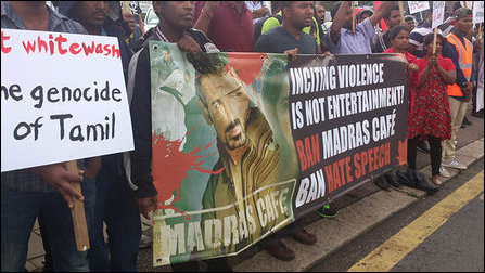 Protest in London against the screeing of Madras Cafe